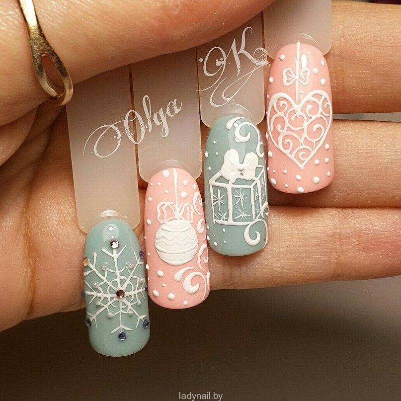 Идеи новогодних дизайнов ногтей-3